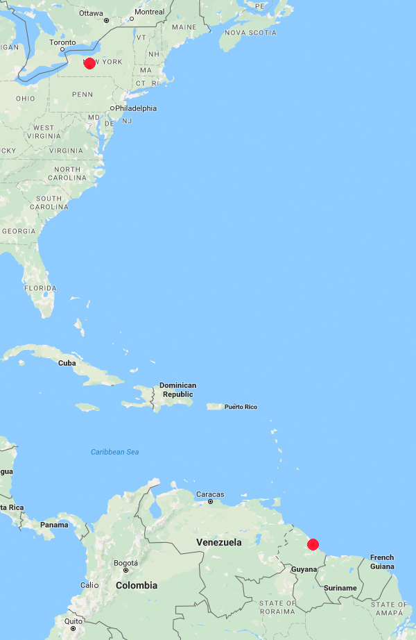Guyana to New York map