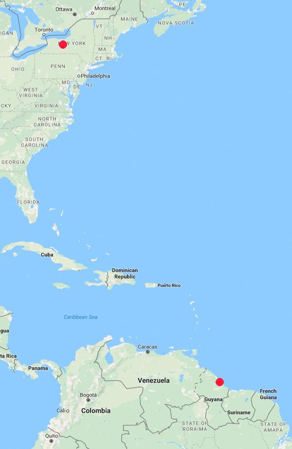 Guyana to New York map