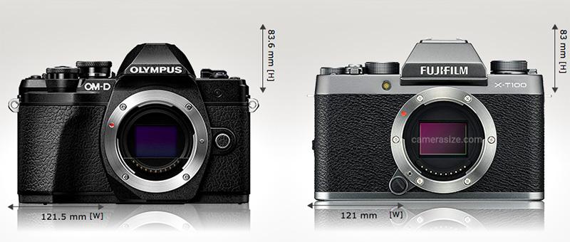 Fuji x-t100 size